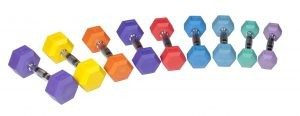 Rubber Hex Dumbbell - Color 4 lb Rubber Hex - Aqua Blue