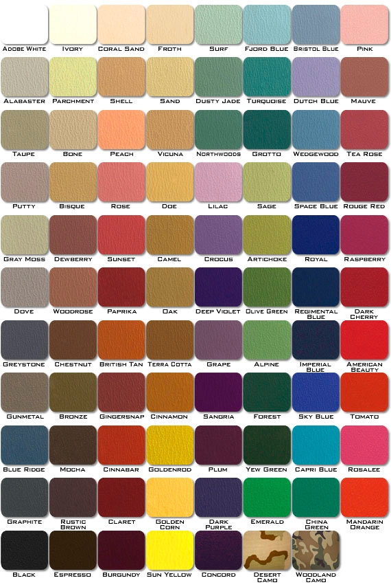 Legend Upholstery Color Chart