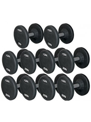 YORK 55 - 100 lb Rubber Pro Style Dumbbell Set (10 Pair)